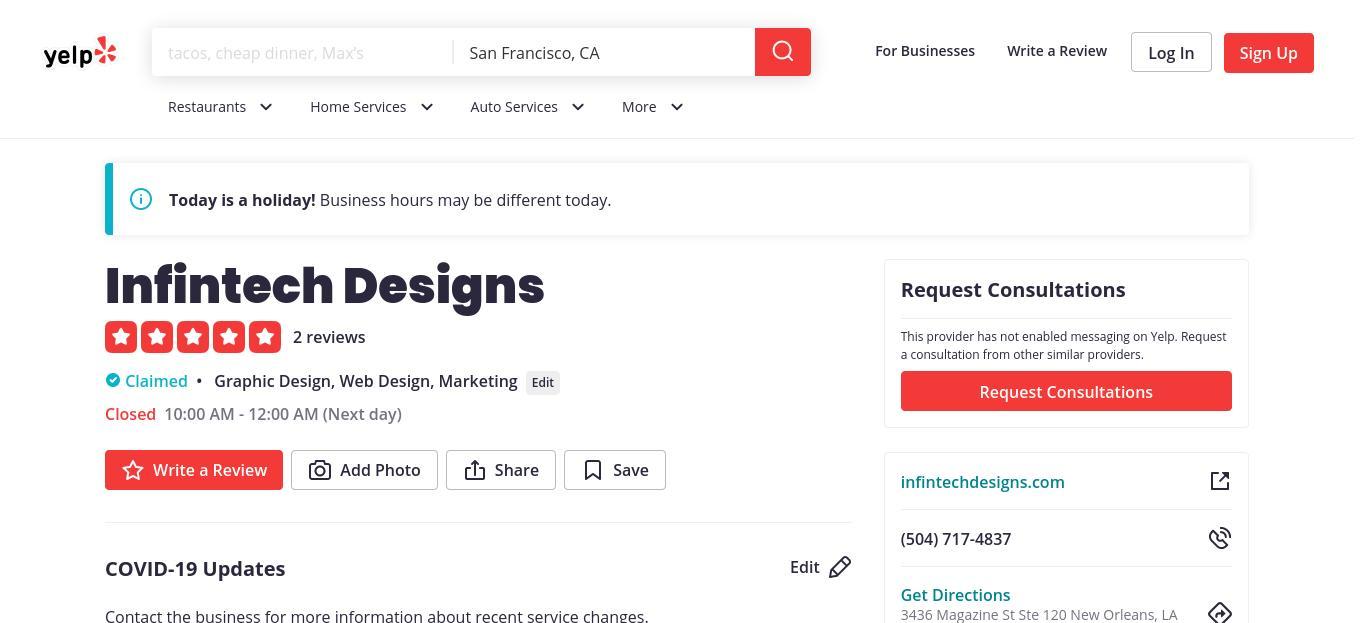 yelp Infintech Designs yelp