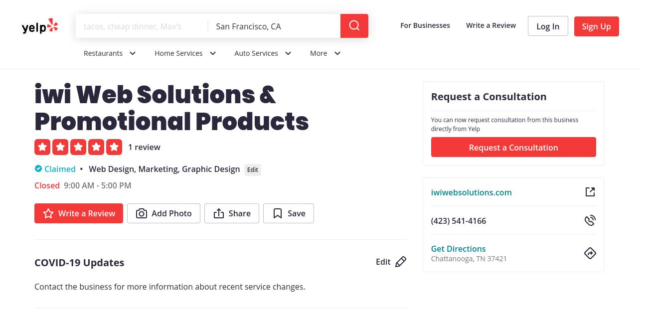 yelp iwi Web Solutions & Promotional Products yelp