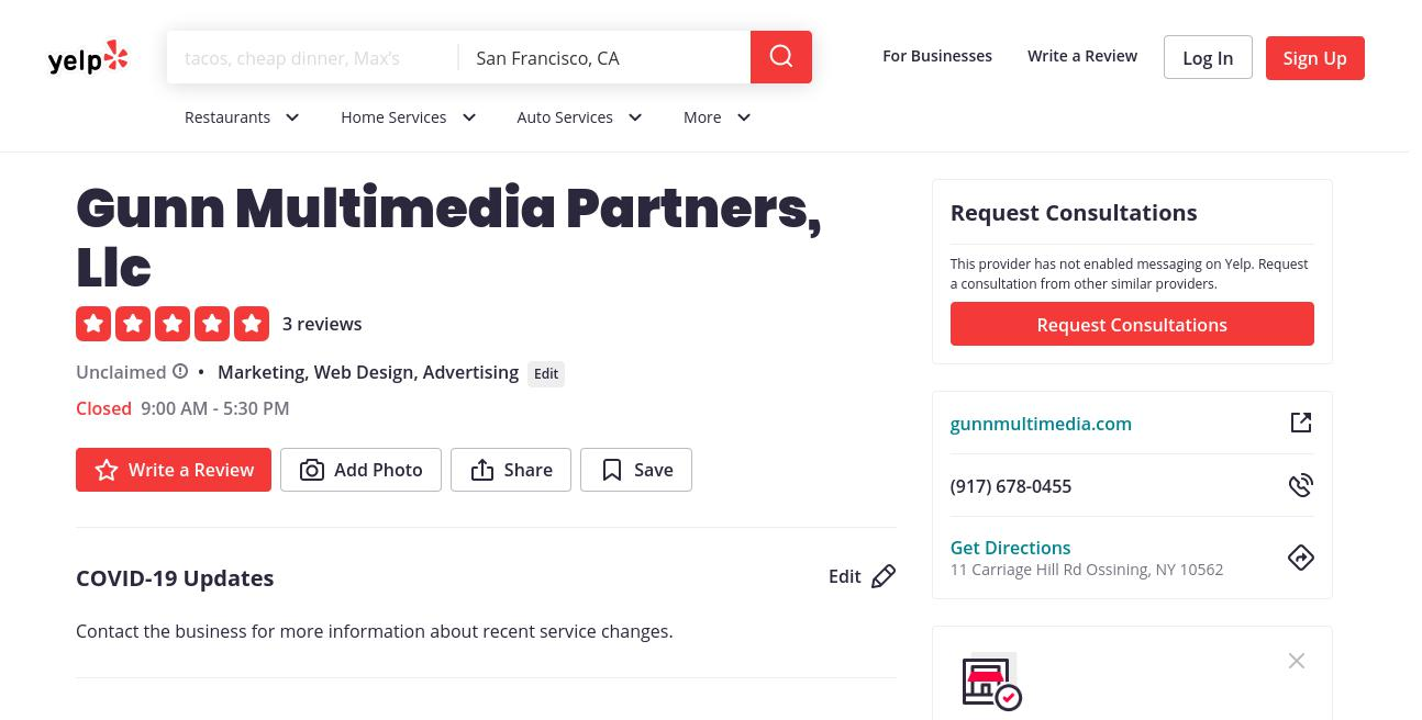 yelp Gunn Multimedia Partners, Llc yelp