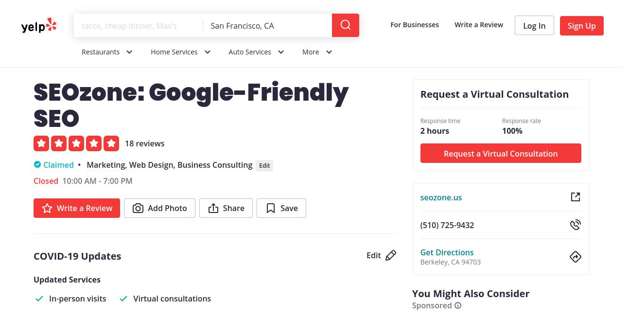 yelp SEOzone: Google-Friendly SEO yelp