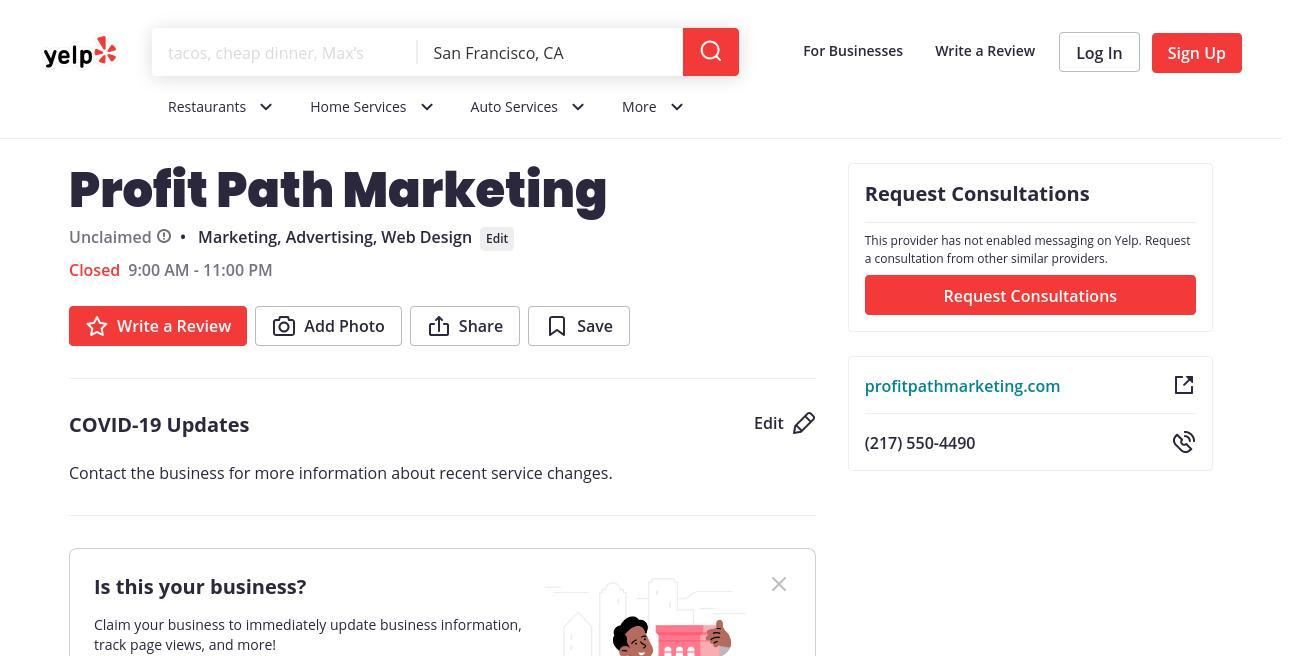yelp Profit Path Marketing yelp