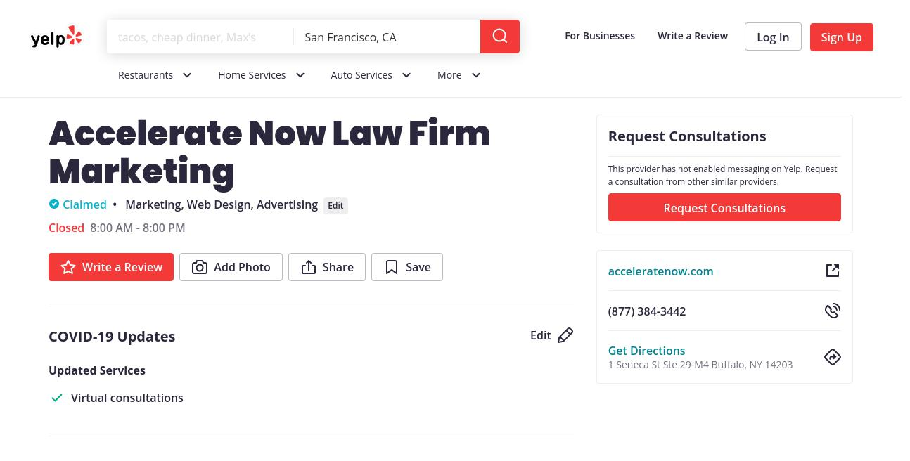 yelp Accelerate Now Law Firm Marketing yelp