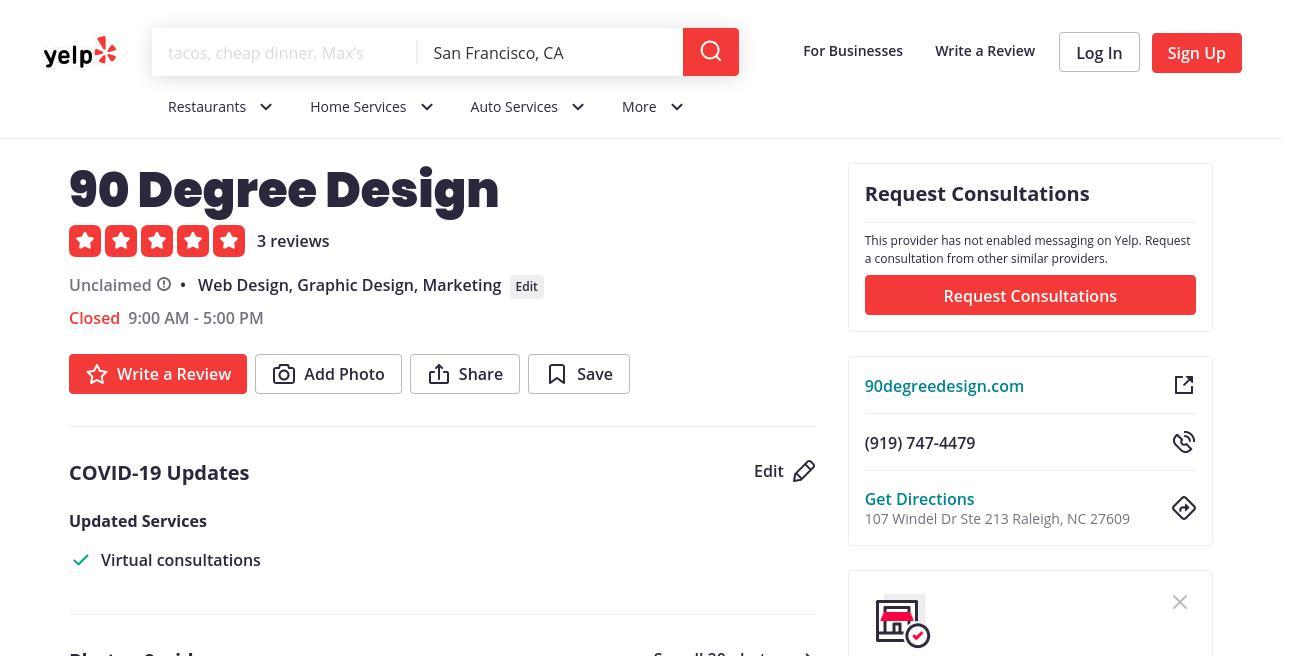 yelp 90 Degree Design yelp