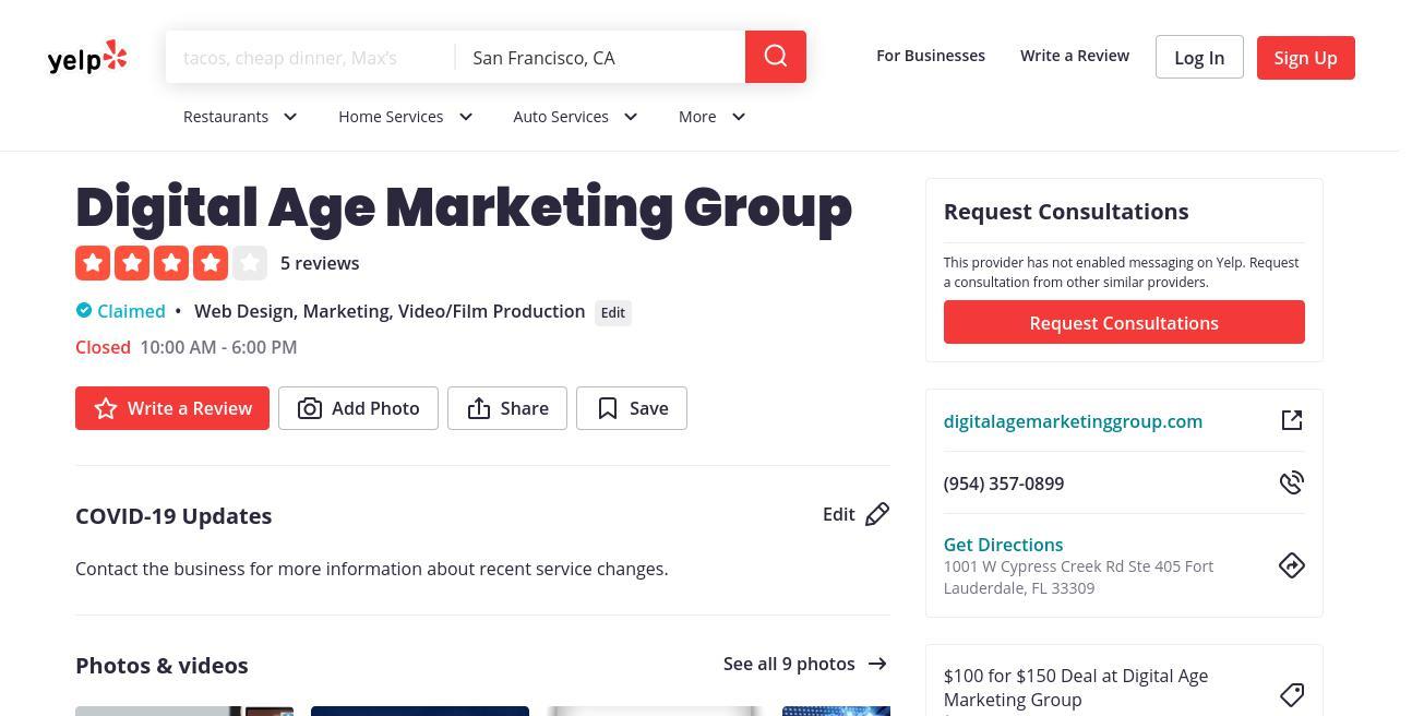yelp Digital Age Marketing Group yelp