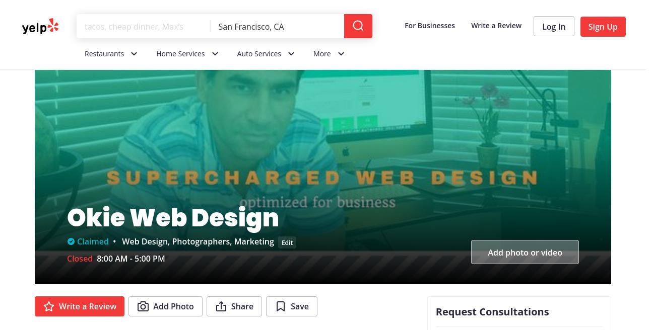 yelp Okie Web Design yelp