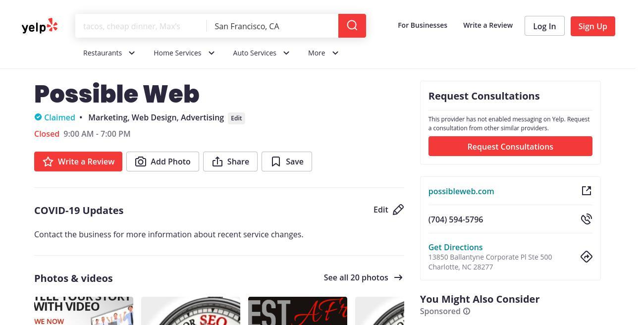 yelp Possible Web yelp