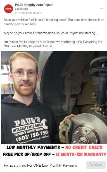 facebook ad for auto repair