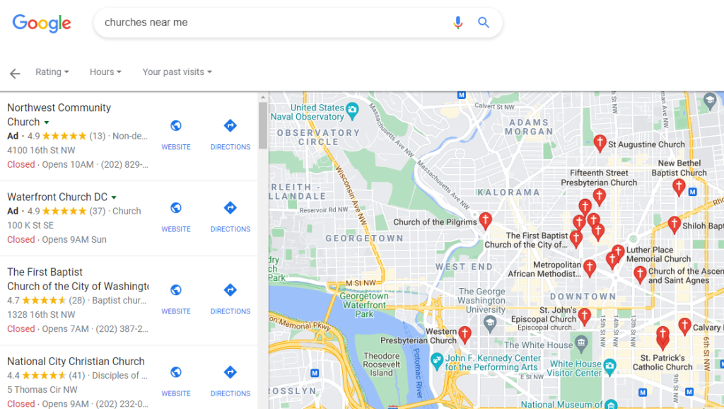 """Google Maps results when searching for """"churches near me""""."""