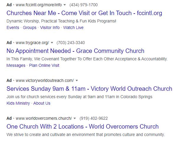 "Google SERP when searching for ""churches near me""."