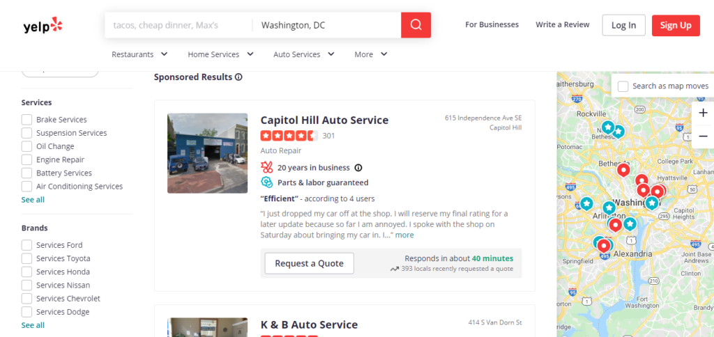 ads auto repair on yelp